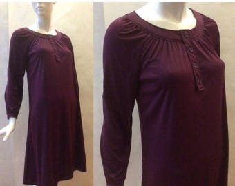 MOVING SALE 1970's tunic dress, in eggplant purple lightly glossy soft flow jersey, with long sleeves, round neckline and button placket, me