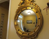 Reduced....Beautiful large old Federal style wood bullseye eagle gold gilt wood frame with convex mirror