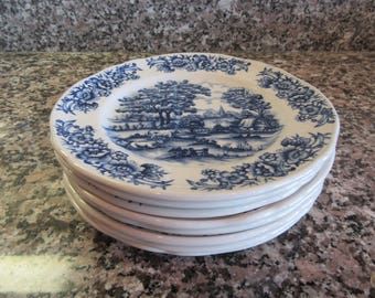 Eight vintage Myott Meakin (England)1982 blue white pasture scene salad plates for one price- fine condition, beautiful