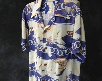 ON SALE Vintage 1940's 1950's Japanese rayon crane print shirt Large AS Is