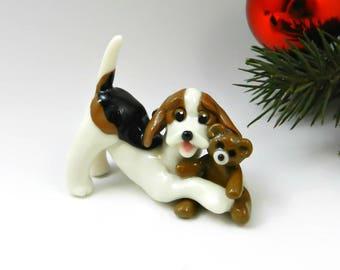 Beagle Christmas Ornament Figurine Teddy Bear Handmade Porcelain