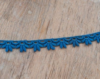 Sweet Blue Applique - 3 yards Vintage Fabric Embroidered Trim Juvenile 60s 70s New Old Stock