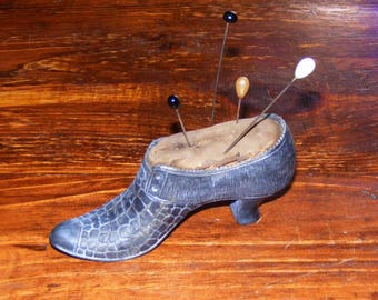 Antique Metal Victorian Shoe Pin Cushion Pin Keep with Glass Stick Pins