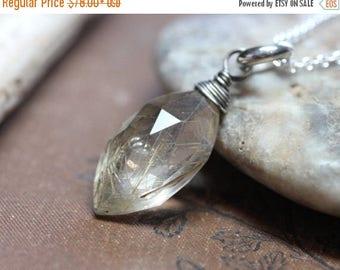 SALE Rutilated Quartz Necklace Sterling Silver Jewelry Rustic Jewelry Big Quartz Faceted Briolette Pendant Necklace
