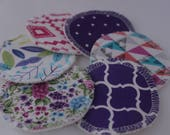 Custom, Organic cotton hemp fleece, cotton print topped, cloth, makeup remover pads,3 inch, face cleansing pads, facial rounds, zero waste