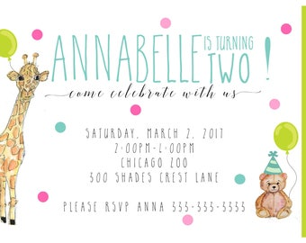 SECOND  birthday party invitation birthday celebration girl One birthday party invite watercolors, giraffe, bear, balloons, custom designed