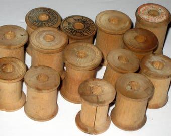 14 Vintage Wooden Thread Spools for Repurposing