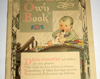 Vintage (1919) Baby Book with Beautiful Illustrations for Scrapbooking, Cardmaking, etc.