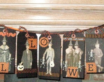 3 Foot Halloween Banner - with Witches, Wizards, Skeletons and Pumpkins