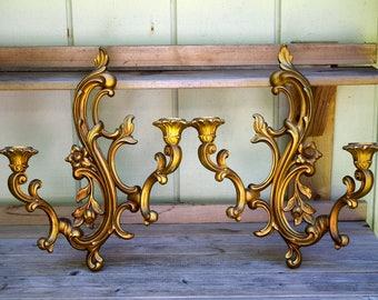 Vintage Pair Dart Wall Sconces 3931 Gold 2 Arm Ornate Candle Sconces Hollywood Regency