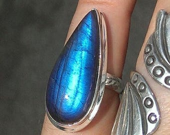 AAA LABRADORITE RING Size 5.5 / 925 Sterling Silver / Stunning Blue Flash Labradorite Ring / Gemstone Ring 925 / Labradorite Jewelry Ring