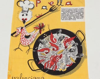Vintage Mid Century Kitchen Wall Hanging Towel Paella Spanish Recipe Fab Graphics