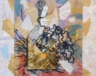 Insufficiently Wrapped, Paper Collage with Envelope, Map, Dictionary Pages, Poetry, Yarn, Ink, Button, 20x16 inches on Standard Canvas