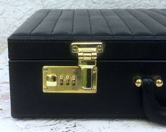 Luxury Midnight Black Vintage Executive Leather Briefcase, Ribbed Exterior Sides, Gray Velvet Interior