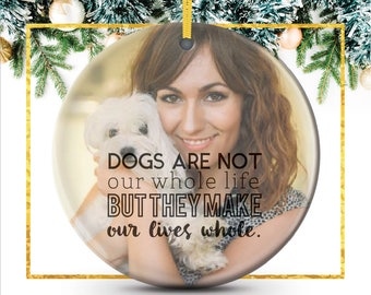 Dog Lover Personalized Photo Ornament, Pet Owner Christmas Gift, personalized holiday ornament featuring your photo // C-P33-OR XX9