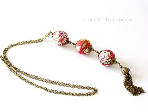Liberty necklace,Tassel necklace,Long boho necklace,Liberty jewelry,Red necklace,Long tassel necklace,Original necklace,Original jewelry