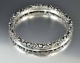 Antique Repousse Silver Bangle Bracelet, Forget Me Not Victorian Embossed Bracelet, Bohemian Stacking Bracelet, Edwardian Bangle