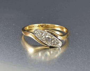 Antique 18K Gold & Platinum Diamond Ring | Art Deco Engagement Ring | English Rose Cut Diamond Gold Ring | Bypass Ring | Vintage Deco Ring