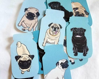 Mason Jar Pug Collection - Eco-friendly Set of 12 - Scrapbooking Embellishment