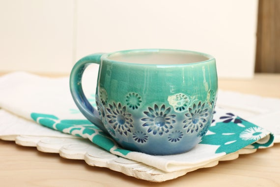 blue and teal mug, porcelain