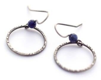 Sterling Silver Hoop Earrings, Hammered Silver Earrings, Geometric Jewelry, Apatite Earrings, Everyday Earrings, Circle Earrings