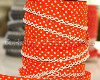 FINAL CLEARANCE SALE Bias Tape - Orange Polka Dot Double Fold