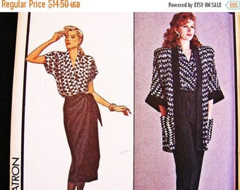 on SALE 25% Off Style Sewing Pattern Wrap Skirt Pattern Misses size 12 UNCUT Mock Wrap Skirt, Wrap Top, Oversized Jacket, High Waisted Pants