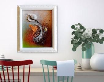 "Original Abstract Painting...Textured Modern Art...8 x 10 Framed Canvas Panel...""Free Spirit"" Contemporary Art...Ready to Hang Framed Art"