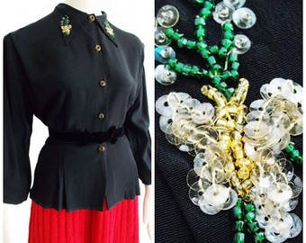 SPECIAL OFFER-1940s black rayon blouse/ 40s sequin glass beaded top/ WWII blouse/ Film noir gold rose button blouse