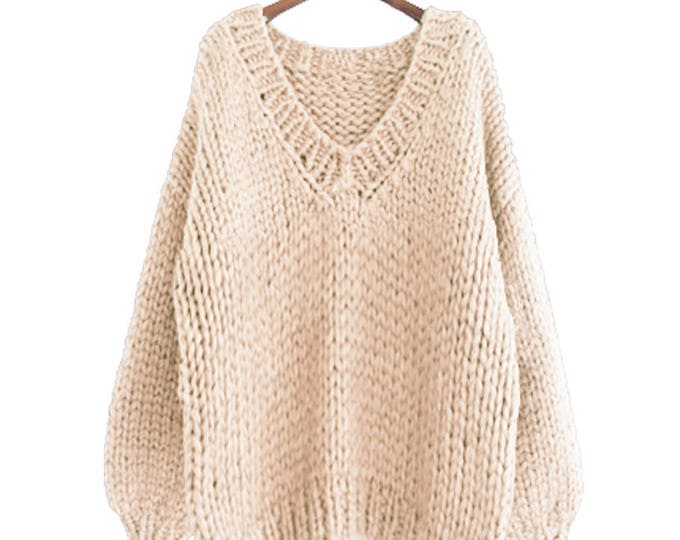 Hand knit oversize woman sweater V-neck slouchy wool  oats cream sweater