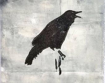 Monoprint No.9, Crow original art