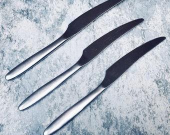 PLAYBOY Club Mid Century Modern Dinner Knives Stainless Flatware Silverware MCM Japan Set 3