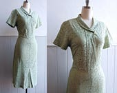 1930s / 1940s Pistachio Green Lace Dress