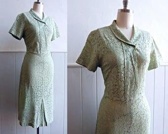 1930s / 1940s Pistachio Green Lace Dress