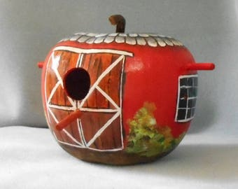 Apple Barn Gourd Birdhouse  Hand Painted