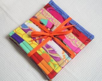 Colorful Fabric Coasters, Kaffe Fassett Fabrics, Set of 4, Quilted, Reversible, Mug Rug