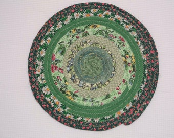 """Green Reversible Coiled Fabric Trivet - 8"""" - Candle Mat, Hot Pad, Bullseye, Bohemian Style, Green, Fabric Wrapped Clothesline"""