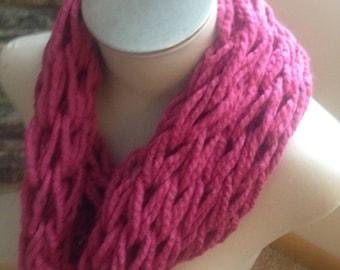 Arm Knit Infinity Scarf- Dark Pink