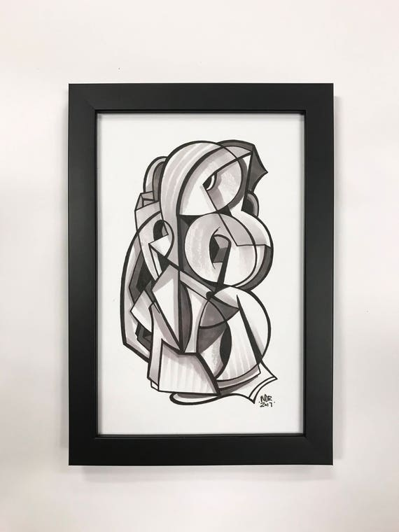 Follow - Original ink drawing on Paper | Signed , Framed and Ready to Hang - 6x9