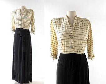 20% off sale Vintage 40s Dress | Les Lumières | 1940s Gown | S M