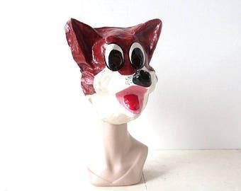 20% off sale Vintage Fox Mask | 1950s Halloween Mask | Papier Mache Mask