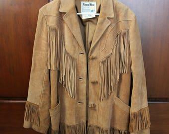 Leather Fringe Coat, Womens Pioneer Wear Hippie Jacket, 1970s Vintage Trapper