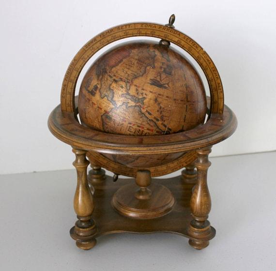 Vintage Mini Globe, Italian Old World, Wood with Zodiac Signs