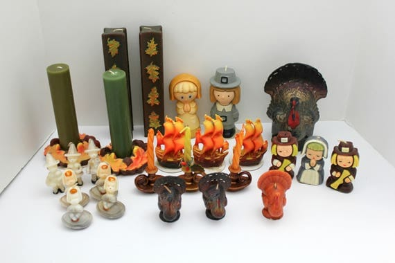 26 Vintage Thanksgiving Gurley Candles, Tavern, Suni, Pilgrims, Turkeys, Leaves, Sail Boats, LOT #1