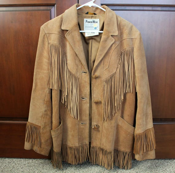 Vintage Leather Fringe Coat, Womens Pioneer Wear Hippie Jacket, 1970s Trapper Style