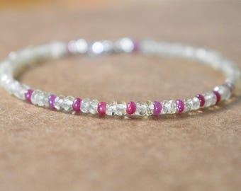 smokey lemon quartz and ruby bracelet.  thin beaded ruby and lemon quartz bracelet. lemon quartz and ruby gemstone bracelet. yellow & pink