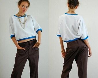 SALE 25% off sundays Crop Sweatshirt Vintage 90s White and Turquoise Color Block Slouchy Oversized Hip Hop Crop Sweatshirt (os)