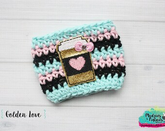Coffee Cup Cozy { Golden Love } glitter, aqua black striped, coffee cup cozie sleeve, mug starbucks water bottle