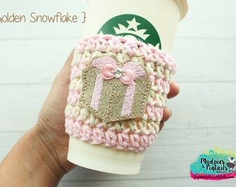 Christmas Present Coffee Cozy { Pink & Gold } cream glitter stripe cup holder, coffee sleeve, hot cocoa, mug sweater, tea cup, planner girl