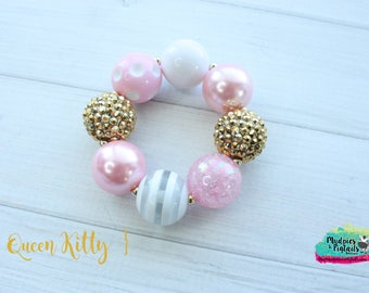 Baby bracelet { Queen Kitty } pink, princess crown, gold,  chunky bead bracelet, toddler bracelet, party favors